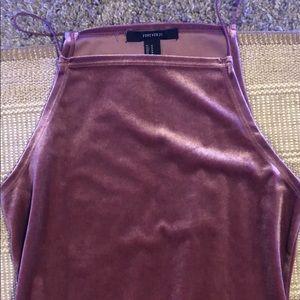 a knee length velvet pink dress !!